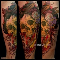 Bright colorful skull of a geisha tattoo