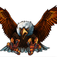 Cartoon brown-and-white attacking eagle tattoo design ...