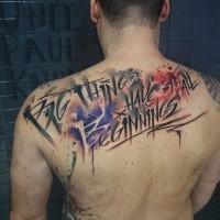 Farbiges Motiv-Schriftzug-Tattoo von Uncl Paul Knows