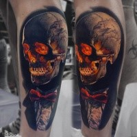 Colored skull tattoo by valentine ryabova