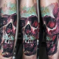 Colored skull tattoo on arm by Robert Zyla