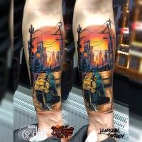 Colorfill-Tattoo mit Mann und zwei Katanas