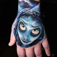 Colorful Corpse Bride on wrist tattoo