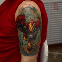 Colorful Ironman tattoo on shoulder