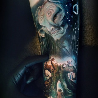 Colorful Pans Labyrinth theme tattoo