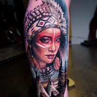 Colorful native american girl style tattoo