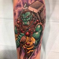 Colorful ork with hammer tattoo