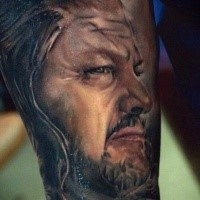 Colorful portrait of Eddard Stark tattoo