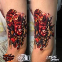 Colorfull Hellboy Tattoo am Arm