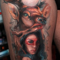 Colorfull deer and woman tatoo on thigh