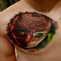 Cool 3D style colored horror movie Jasons mask tattoo on chest