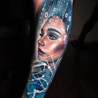 Cool Digital Bath tattoo on wrist