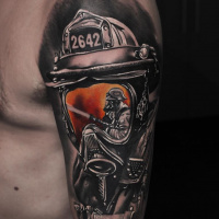 Cool Firefighter tattoo on shoulder