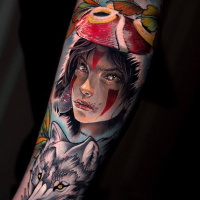 Cool Princess Mononoke tattoo on arm