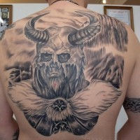 Cool Viking warrior with horned helmet tattoo on back