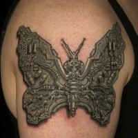 Cool biomechanical scheme butterfly tattoo on arm