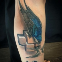 Cool bird and 3d cubs tattoo