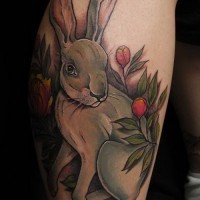 Cool colorful hare with flowers tattoo on shin