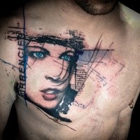 Cool creative painted woman with blue eyes tattoo combined with lettering