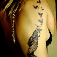 Cool curled black-and-white feather bird tattoo on side