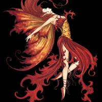Cool Fire Fairy In Orange Colors Tattoo Design Tattooimages Biz