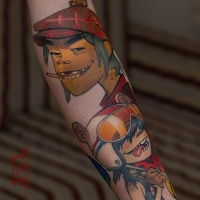 Cool gorillaz band tattoo on forearm