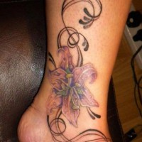 Cool hawaiian hibiscus flower tattoo on ankle