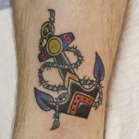 fresco vecchia scuola ancora con corda tatuaggio su gamba