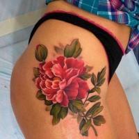 Coole rosa Pfingstrose Blume Tattoo auf Oberschenkel