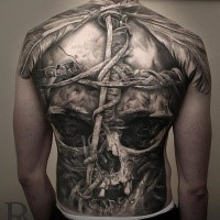 Cool skull tattoo on whole backby Niki Norberg