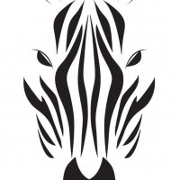 black striped zebra head with ink splashes tattoo design. Black Bedroom Furniture Sets. Home Design Ideas