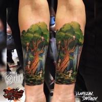Creative cartoon style tattoo on forearm