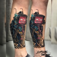 Creative robot with monitor head tattoo on leg