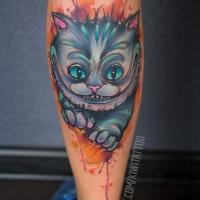 Nettes Cheshire Cat Tattoo am Bein
