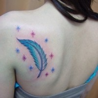 Cute blue-colored feather with stars tattoo on back