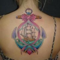 carina colorato fiocco vecchia scuola ancora con barca tatuaggio  su schiena