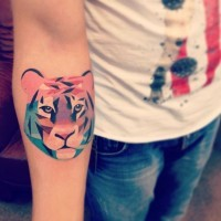 Cute colorful tiger tattoo for guys on forearm