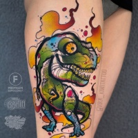 Cute colorfull dinosaur tattoo for girls