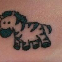 divertente animato piccola zebra nero tatuaggio