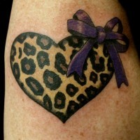Cute girly colorful heart with cheetah print tattoo