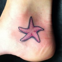 Cute pink black-contour starfish tattoo on foot