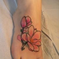 carino fiore magnolia rosa tatuaggio su piede