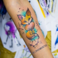 Cute watercolor fox tattoo