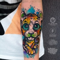 Cute watercolor little tiger taattoo on wrist