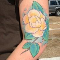 carino fiore giallo magnolia tatuaggio su braccio