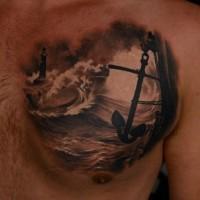 ancora lunga scura appesa su nave tatuaggio per uomo su petto