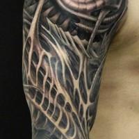 scuro ornato biomeccanico cablato tatuaggio a mezza manica