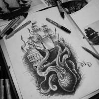 Dark Strong Octopus Keeping A Huge Ship Under Water Tattoo Design