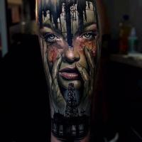 Depicting society killing nature theme tattoo