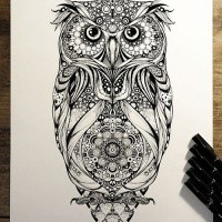 detailed owl with mandala stomach tattoo design